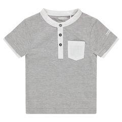 Tee-shirt manches courtes en jersey avec col fantaisie et poche