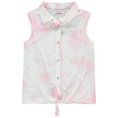 Chemise sans manches en broderie anglaise effet tie and dye