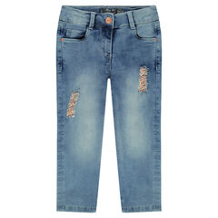 Corsaire en jeans effet used avec déchirures rehaussées de foil doré