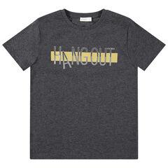 Junior - T-shirt manches courtes en jersey avec message printé