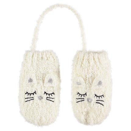 Moufles en tricot doux écru avec oreilles en relief et détails brodés