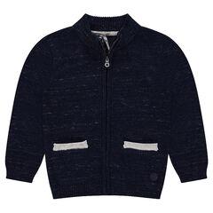 Gilet zippé en tricot twisté avec poches