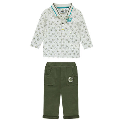 Ensemble polo imprimé all-over et pantalon en molleton ©Smiley
