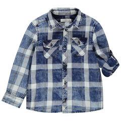 Chemise manches longues à carreaux effet délavé all-over