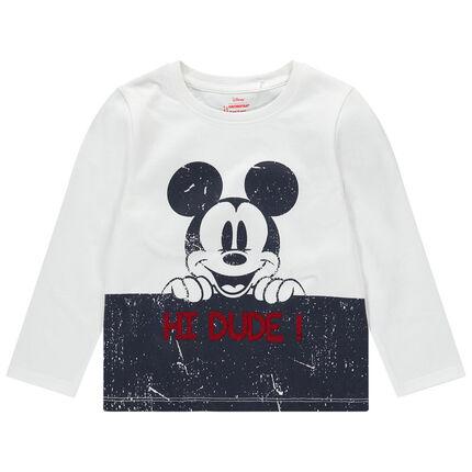 Tee-shirt manches longues en jersey avec print Mickey Disney effet crinkle