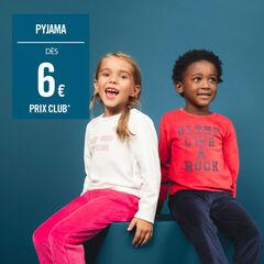 Pyjama en velours bicolore avec message printé