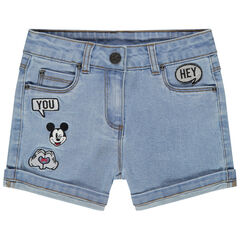 Short en jean avec badges Mickey Disney