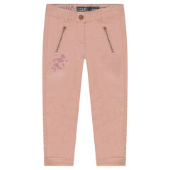 Pantalon en coton avec broderies et poches zippées