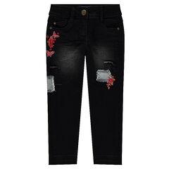 330ba09d4316e Jeans effet used avec broderies florales