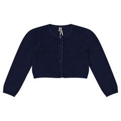 Gilet court en coton et laine avec jeu de maille