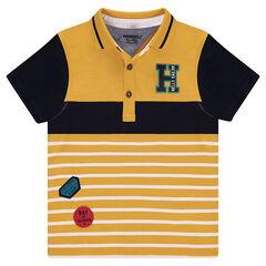 Polo manches courtes en jersey avec badges et lettre brodée