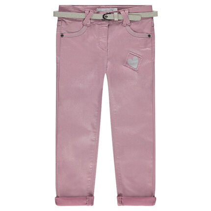 Pantalon slim en toile à paillettes avec ceinture amovible
