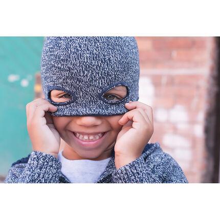 Bonnet en tricot chiné effet masque