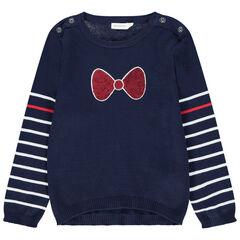 Pull en tricot motif noeud en sequins