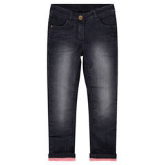 Jeans effet used doublé polaire