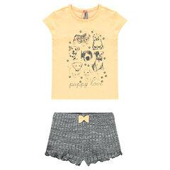 Pyjama court tee-shirt et short print chiens
