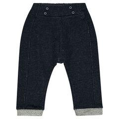 Pantalon sarouel en molleton pailleté effet jeans