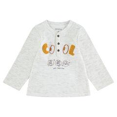 Tee-shirt manches longues côtelé avec lettres en bouclette