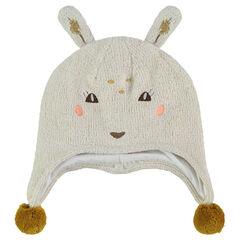 Bonnet péruvien en tricot avec oreilles en relief et pompons