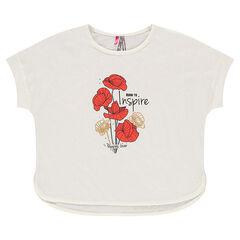 Tee-shirt manches courtes aspect lin avec print coquelicots