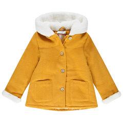 Manteau en drap de laine doublé sherpa à poches