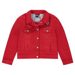 Junior - Veste en jeans rouge avec badge ©Smiley et poches