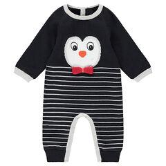 Combinaison en tricot doublé velours avec pingouin en jacquard et rayures