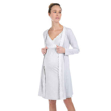 Gilet long homewear en coton bio avec dentelle