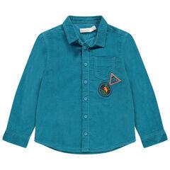 Chemise manches longues en velours bleu avec poche et badges