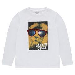 Junior - Tee-shirt manches longues en jersey avec motif fantaisie printé