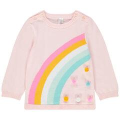 Pull en tricot à arc-en-ciel en jacquard et pompons