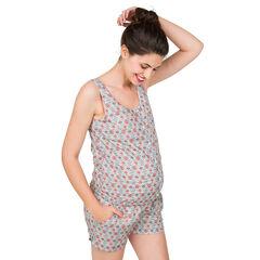 Combishort de grossesse imprimée all-over avec liens dos
