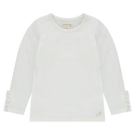 Tee-shirt manches longues en jersey avec volant sur le bout des manches