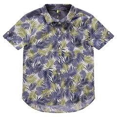 Chemise manches courtes à imprimé végétal all-over