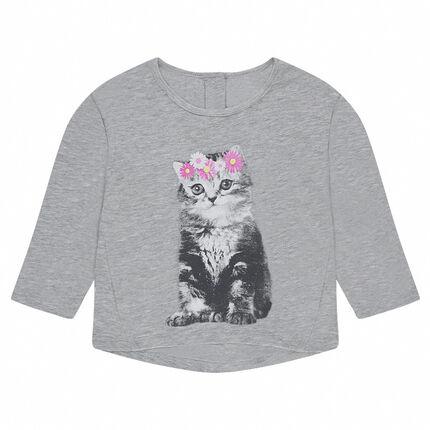 Tee-shirt en jersey slub avec print fantaisie