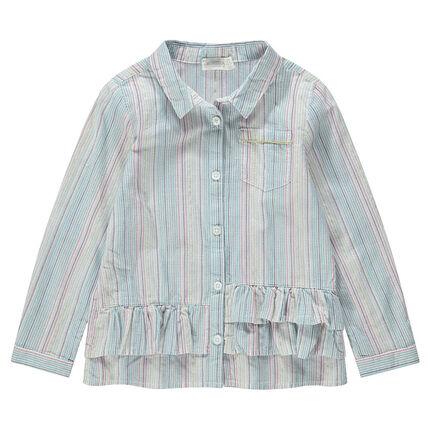 Chemise manches longues à rayures verticales et volants