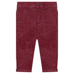 Pantalon en velours côtelé doublé jersey