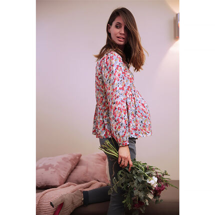 Top de grossesse manches longues avec imprimé floral