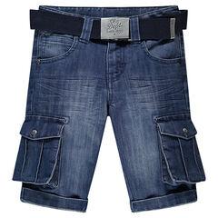 Bermuda en jeans effet used avec poches et ceinture