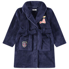Robe de chambre en sherpa à poches et badges patchés