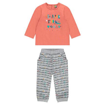 Ensemble tee-shirt manches longues printé avec pantalon imprimé