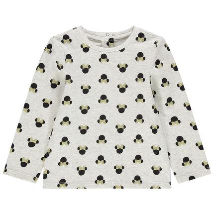 T-shirt manches longues chiné à Minnie printée all-over