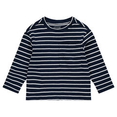 Tee-shirt manches longues en jersey fantaisie rayé avec poche