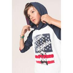 Junior - T-shirt manches longues à capuche avec main printée