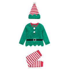 Pyjama lutin de Noël garçon en polaire esprit déguisement avec ensemble et bonnet , Orchestra