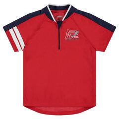 Tee-shirt manches courtes en mesh avec bandes printées et col zippé