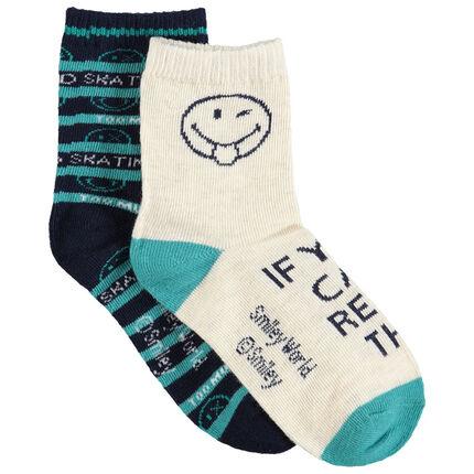 Lot de 2 paires de chaussettes assorties avec motif Smiley en jacquard