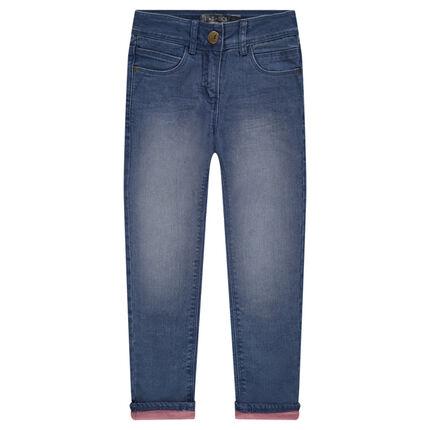 Junior - Jeans droit fitté doublé jersey