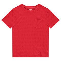 Tee-shirt manches courtes avec effet de rayures et poche