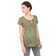 Tee- shirt de grossesse kaki avec encolure fantaisie